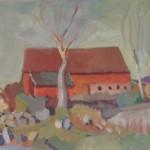 Gudbrandsen var 22 år da han malte dette i 1938. Motivet er løa på Lunde gård.